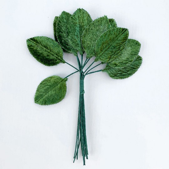 "12 Green Velvet Leaves ~ 1-1/2"" Long"