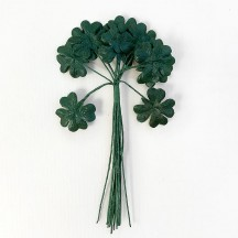 "12 Green Fabric Shamrock Leaves ~ 1"" Long"