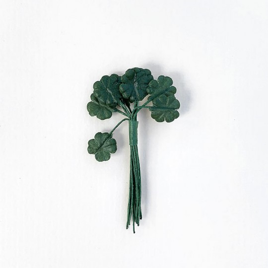 "12 Green Fabric Shamrock Leaves ~ 1/2"" Long"