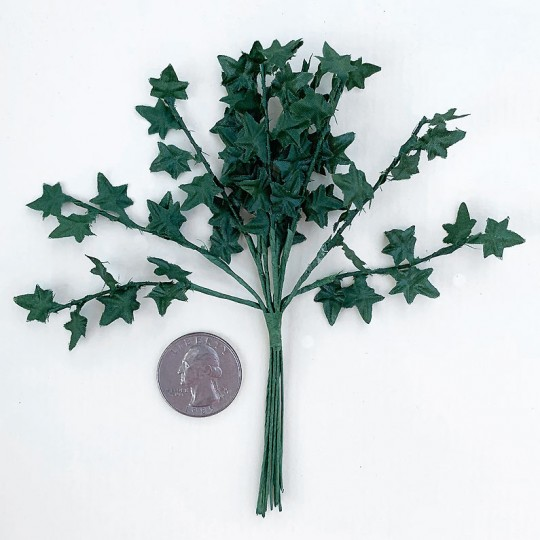 "12 Dark Green Mini Ivy Branches ~ 5"" Long"