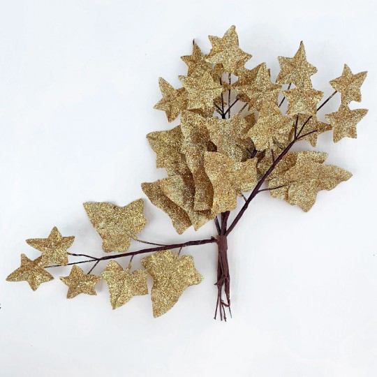 "6 Gold Glitter Ivy Branches ~ 7-1/2"" Long"