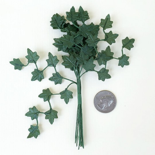 "12 Dark Green Mini Ivy Zig Zag Branches ~ 5-1/2"" Long"
