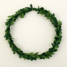 "Mixed Green Small Fabric Boxwood Wreath ~ 4"" Across"