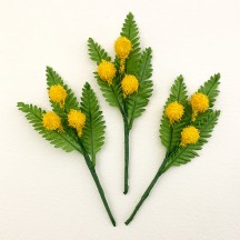 "3 Yellow Mimosa and Leaf Picks ~ 4-1/2"" Long"