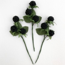 "3 Black Blackberry and Leaf Picks ~ 4-1/2"" Long"