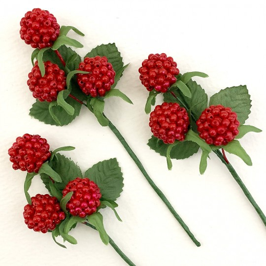 "3 Red Raspberry and Leaf Picks ~ 4-1/2"" Long"