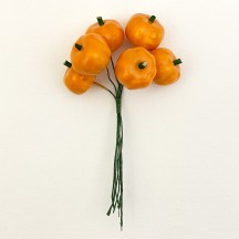 "6 Orange Lacquered Pumpkins for Fall Crafts ~ 3/4"" Tall"
