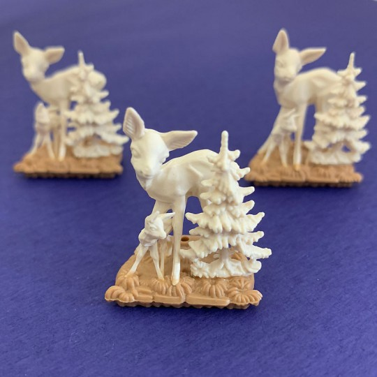 "3 Miniature Plastic Deer Scenes ~ 1-1/4"" tall"