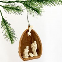 "2 Miniature Plastic Ornaments ~ Walnut Nativity Scenes ~ 1-1/2"" tall"