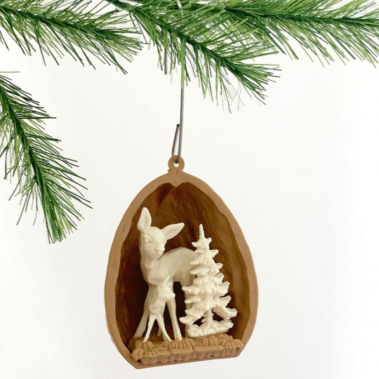 "2 Miniature Plastic Ornaments ~ Walnut Deer Scenes ~ 1-1/2"" tall"