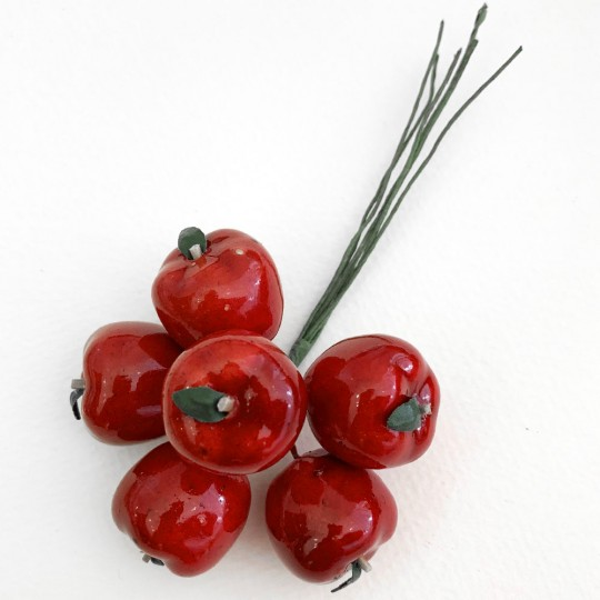 "6 Red Lacquered Apples for Fall Crafts ~ 3/4"" Tall"