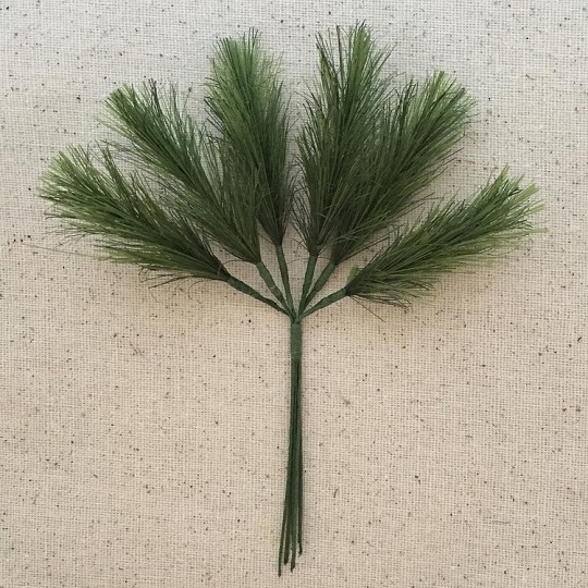 "Bundle of 12 Green Fabric Pine Sprigs  ~ Austria ~ 2"" Long"