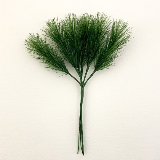 "Bundle of 6 Green Fabric Pine Sprigs  ~ Austria ~ 2"" Long"