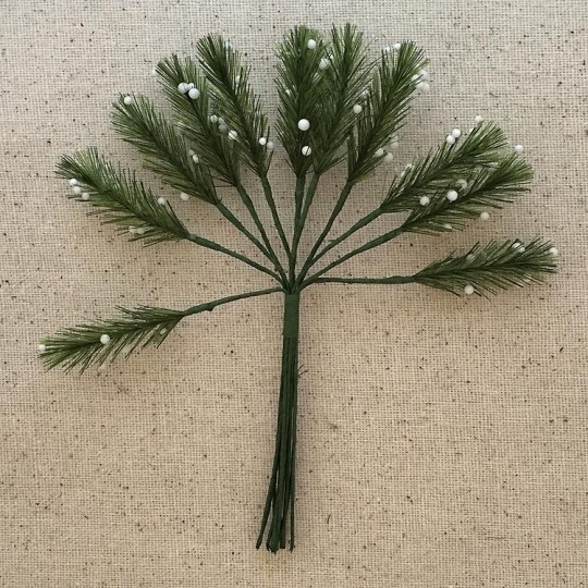 "Bundle of 12 Green Fabric Pine Sprigs with White Berries ~ Austria ~ 1-1/2"" Long"