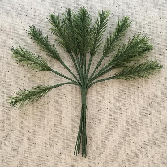 "Bundle of 12 Green Fabric Pine Sprigs  ~ Austria ~ 1-1/2"" Long"