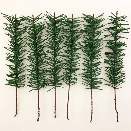Set of 6 Paper Pine Sprigs for Feather Trees and Crafting~ Austria