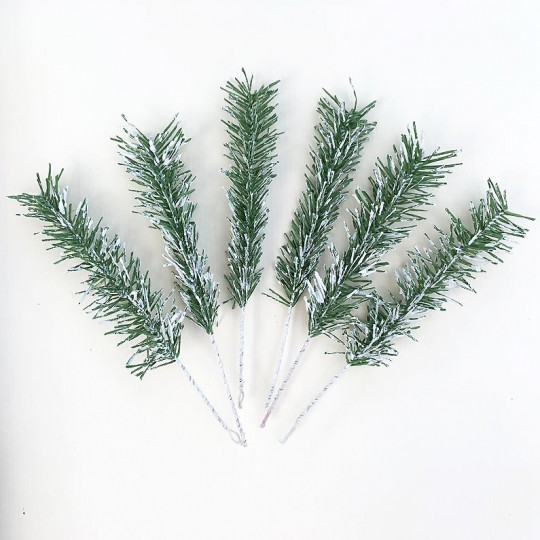 Set of 6 Snowy Paper Pine Sprigs for Feather Trees and Crafting ~ Austria