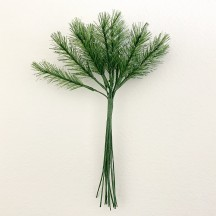 "Bundle of 12 Green Fabric Pine Sprigs with White Accents~ Austria ~ 1-1/2"" Long"
