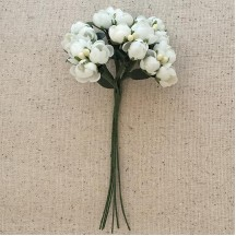 Bundle of White Fabric Flower Buds ~ Austria ~ 3/8""