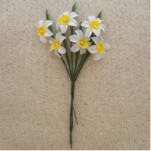 6 White and Yellow Fabric Narcissus Blossoms ~ Austria ~ 1""