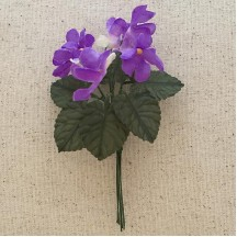 6 Purple Fabric Violets with Leaves ~ Austria ~ 1""