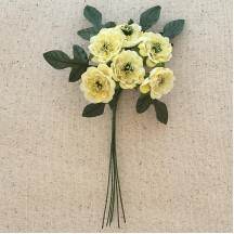 6 Pale Yellow Fabric Ruffled Zinnias with Leaves ~ Austria ~ 1""