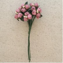 Bundle of Dusty Pink Fabric Flower Buds ~ Austria ~ 1/4""