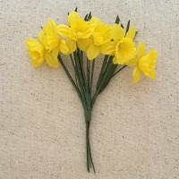 6 Yellow Fabric Daffodil Blossoms ~ Austria ~ 1-1/2""