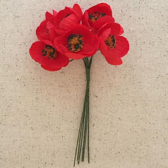 6 Red Fabric Millinery Poppies ~ Austria ~ 1""