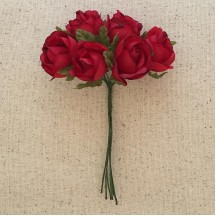 6 Red Fabric Millinery Roses ~ Austria ~ 1""