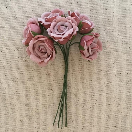 6 Dusty Rose Fabric Millinery Roses ~ Austria ~ 1""