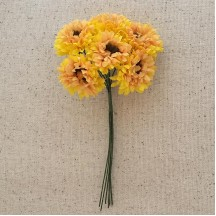 6 Golden Yellow Fabric Ruffled Daisy Blossoms ~ Austria ~ 1-1/8""