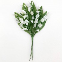 6 Delicate Fabric Lily of the Valley Stems ~ Austria