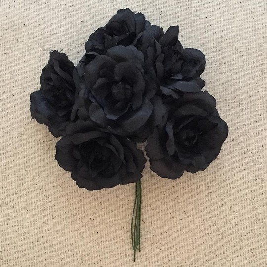 6 Black Fabric Millinery Roses ~ Austria ~ 1-3/4""