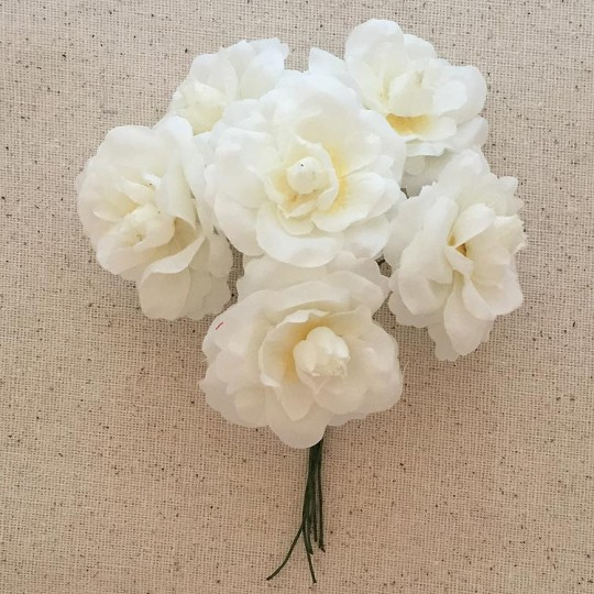 6 White Fabric Millinery Roses ~ Austria ~ 1-3/4""