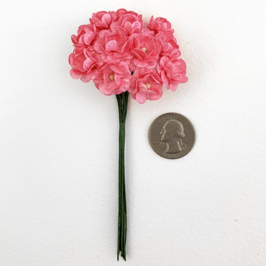 12 Pink Paper Flower Blossoms ~ 5/8""