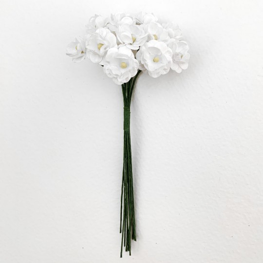 12 White Paper Flower Blossoms ~ 5/8""