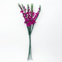 6 Tiny Magenta Fabric Flower Stems ~ Austria