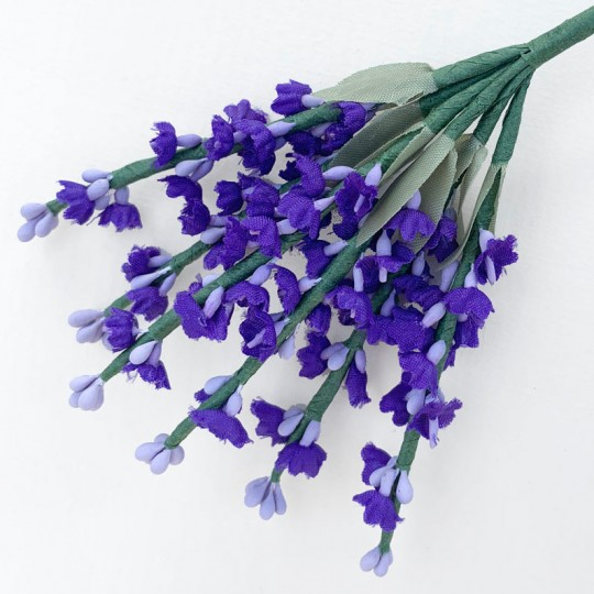 6 Tiny Dark Purple Fabric Lavender Stems ~ Austria