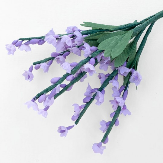 6 Tiny Light Purple Fabric Lavender Stems ~ Austria