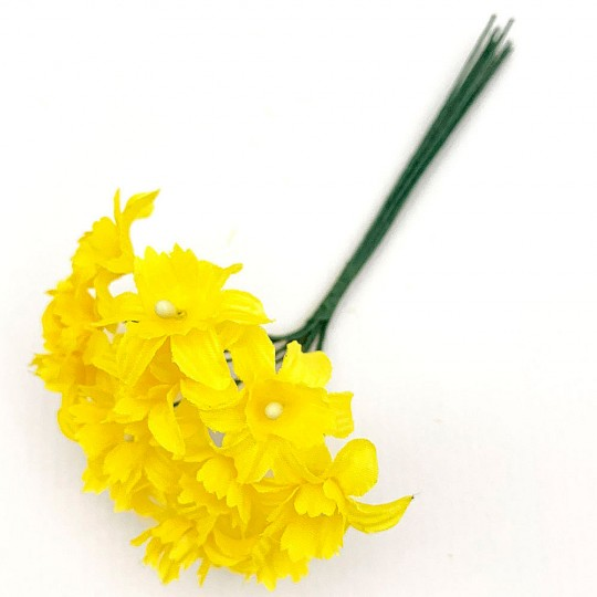 12 Yellow Fabric Daffodil Blossoms ~ 1""