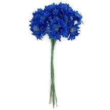 12 Dark Blue Cornflower Blossoms or Bachelor Buttons ~ 3/4""