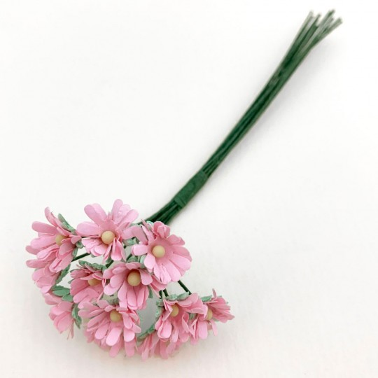 12 Tiny Pink Paper Daisies ~ 3/8""