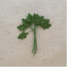 "Bundle of 12 Petite Green Fabric Leaves ~ Vintage Germany ~ Old Store Stock ~ 1"" Long"