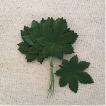 "Bundle of 12 Green Fabric Maple Leaves ~ Vintage Germany ~ Old Store Stock ~ 2"" Long"