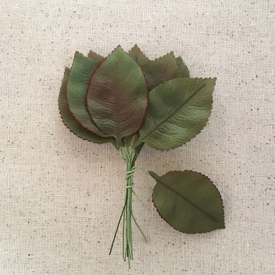"Bundle of 12 Drab Green Fabric Rose Leaves ~ Vintage Germany ~ Old Store Stock ~ 2-1/4"" Long"