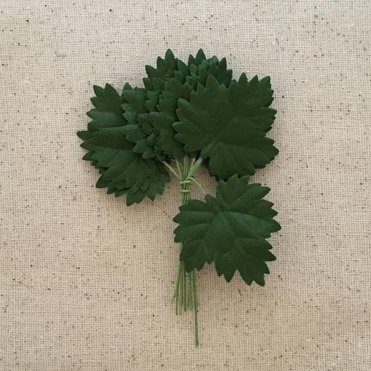 "Bundle of 12 Green Fabric Maple Leaves ~ Vintage Germany ~ Old Store Stock ~ 1-1/2"" Long"