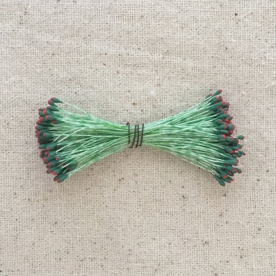 Green and Red Vintage Flower Stamen Tips ~ Germany