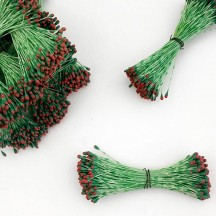 Green and Red Tip Flower Stamen Pips for Flower Crafting
