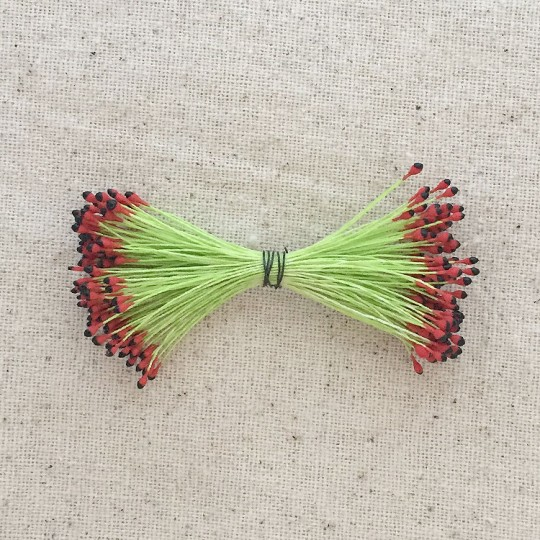 Black and Red with Chartreuse Vintage Flower Stamen Tips ~ Germany